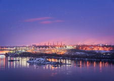 Night cityscape. Industrial landscape in Ukraine at twilight Royalty Free Stock Photo