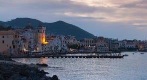 Night cityscape, Ischia Porto, Mediterranean Sea Royalty Free Stock Images