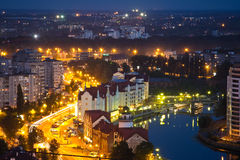 Night cityscape of Kaliningrad downtown. View from rooftop Stock Photography
