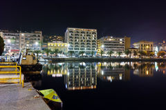 Night cityscape of Kavala and Reflection in Aegean sea, Greece Royalty Free Stock Photo