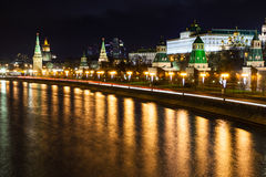 Night cityscape with Kremlin in Moscow Stock Image