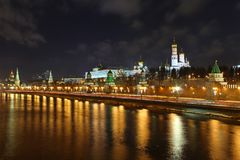 Night cityscape and Kremlin wall. Night cityscape with Moscow river and Kremlin wall. Moscow, Russia Stock Photo