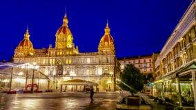 Night cityscape of La Coruña, Galicia, Spain Royalty Free Stock Images