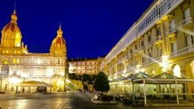 Night cityscape of La Coruña, Galicia, Spain Stock Image