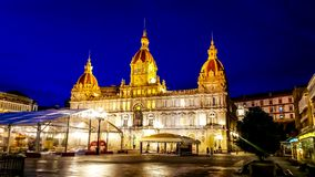 Night cityscape of La Coruña, Galicia, Spain Royalty Free Stock Photos
