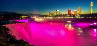Night cityscape and landscape Niagara waterfall between USA and royalty free stock images
