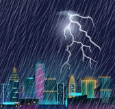 Night cityscape with lightning flash and heavy rain. Thunderstorm in the city. Urban landscape with thunder and lightning. Realistic vector illustration Stock Image
