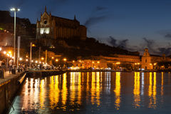 Night cityscape with lights. Gaeta town, Italy Stock Photography