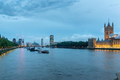 Night Cityscape of London from Westminster Bridge, England Royalty Free Stock Photos