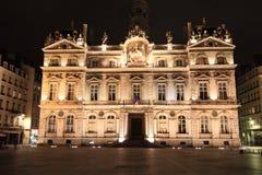 Night cityscape at Lyon market square Stock Image