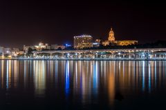 Night Cityscape In The Marina Bay Port Of Malaga Stock Image