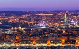 Night cityscape of Marseille Stock Image