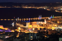 Night cityscape of Marseille Royalty Free Stock Images