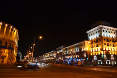 Night cityscape of Minsk Stock Photos