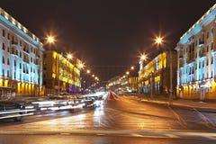 Night cityscape of Minsk, Belarus stock photo