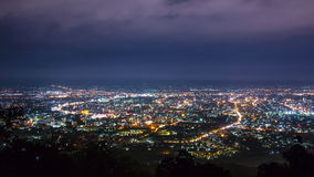Night Cityscape And Mist Floating Over Of Chiang Mai, Thailand stock video