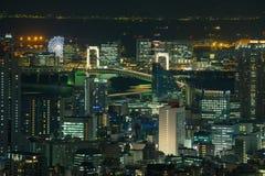 Night cityscape of Odaiba landmark, Japan Royalty Free Stock Images