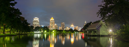 Night cityscape, office buildings and apartments in Thailand Stock Photography