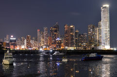 Night cityscape of Panama city, Panama, Central America Royalty Free Stock Images