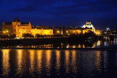 Night cityscape of Prague Stock Images