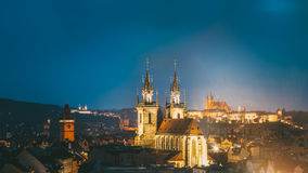 Night cityscape of Prague, Czech Republic. Old town hall, Church Stock Image