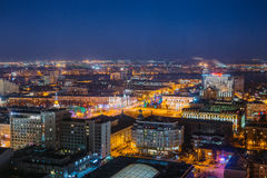 Night cityscape from rooftop to Lenin square. Houses, trade centers Royalty Free Stock Photography