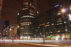 Night City view of Rotterdam , Netherland. royalty free stock photos