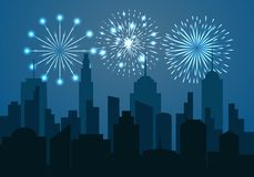 Night cityscape silhouette with festive fireworks. Celebration template in blue colors. Vector illustration Royalty Free Stock Image