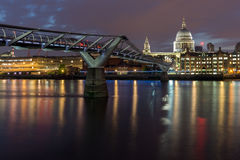 Night cityscape of St. Paul's Cathedral from Thames river, London, England Stock Image