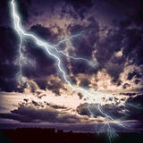 Night cityscape with strong lightning Stock Photos