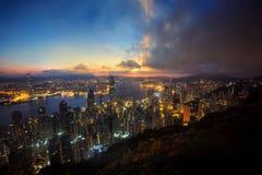 Night cityscape sunset in Hongkong Royalty Free Stock Image