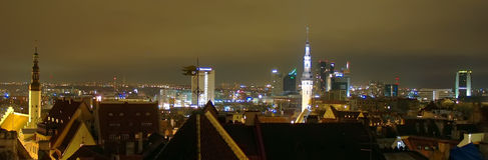 Night cityscape of Tallinn. Night illumination cityscape of Tallinn city Estonia Stock Image