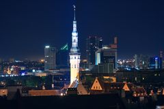 Night cityscape of Tallinn, Estonia Royalty Free Stock Photo