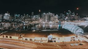 Night Cityscape Timelapse Darling Harbour Skyline Sydney Australia stock footage