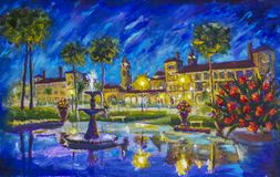 Night cityscape urban Oil painting Flagler College, Ponce de Leon Hotel, St. Augustine, Florida. Fountain, buildings, lanterns, palm trees, red flowers shine Royalty Free Stock Image