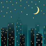 Night cityscape. Vector illustration Stock Images