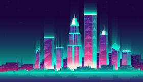 Night cityscape, vector illustration. Urban landscape on a dark background with bright neon pink and blue lights, high modern buildings. Advertising banner stock illustration