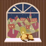 Night cityscape view from open window Royalty Free Stock Image