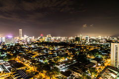 Night cityscape view of the scenic Georgetown Penang Malaysia Stock Photos