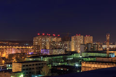 Night cityscape view to urban modern apartment buildings in Voronezh Royalty Free Stock Photo