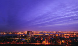 Night cityscape view of Voronezh city from rooftop. District Birchwood Royalty Free Stock Photography