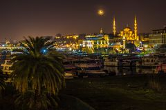 Night photo of Istanbul Old Town royalty free stock photography