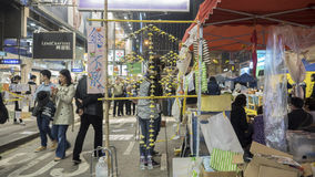Night before clearance at Umbrella Revolution - Causeway Bay, Hong Kong Stock Photography
