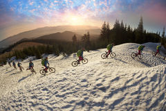 Night climbing bicycle racer Royalty Free Stock Images