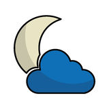 Night cloudy weather isolated icon. Vector illustration design Stock Image