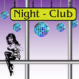 Night club. Colorful illustration with colored disco balls, an attractive young woman sitting on a metallic pipe and the text Night Club written on a yellow Royalty Free Stock Photography