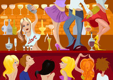 Night club. People are dancing at the night club vector illustration