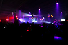 Night club. Colorful Lighting in night club with could people stock photos