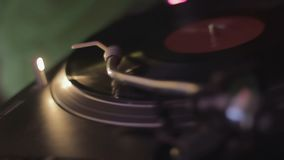 Night club atmosphere, professional audio equipment, spinning vinyl record. Stock footage stock video