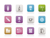 Night club, bar and drink icons stock illustration